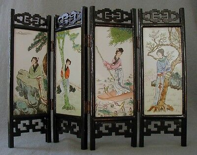 Beautiful Antique Asian  4 Panel Painting On Porcelain Table Screen