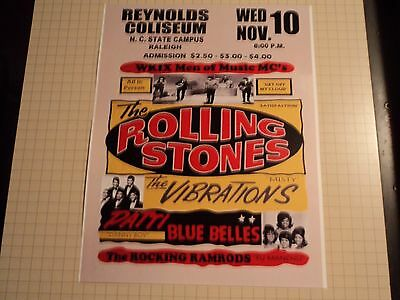 Vintage Rolling Stones N C State Campus Reproduction Concert Poster 11 x14
