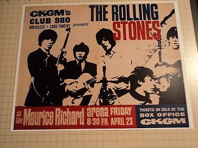 Vintage Rolling Stones Maurice Richard Arena  Reproduction Concert Poster 11 x14