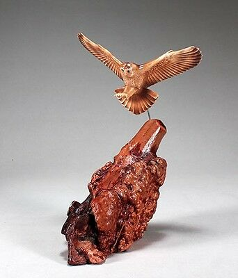 BARN OWL Statue New direct from JOHN PERRY 6in tall Figurine Decor on Burl Wood