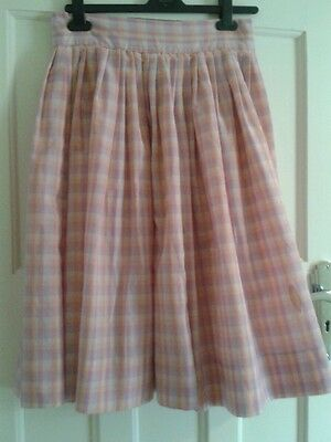 Vintage 80s does 50s Pastel Gingham  Circle Skirt Rockabilly 10/12 Pink