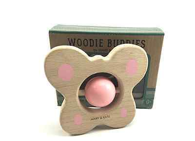 Montessori Rattle Toy for Babies by Mary & Kate Woodie Buddies Wooden Teether