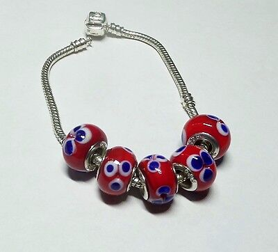 Floral Red White n Blue Glass Beads with .925 Silver Inserts Large Hole Beads