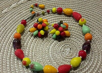 Vintage Japan Fruit Choker Necklace And Clip Earrings