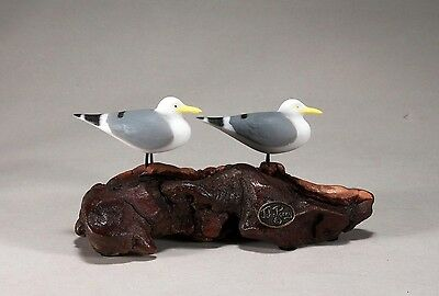 SEAGULL Pair Figurine New direct from JOHN PERRY 6in long Statue seabirds Decor