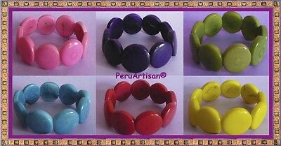 "Natural Peru Lot 12 Bracelets Of Tagua Nuts ""vegetable Ivory"" Unique!!"