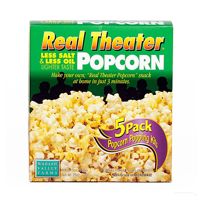 Wabash Valley Farms Popcorn - Real Theater - Less Salt/Less Oil - 5 pouches