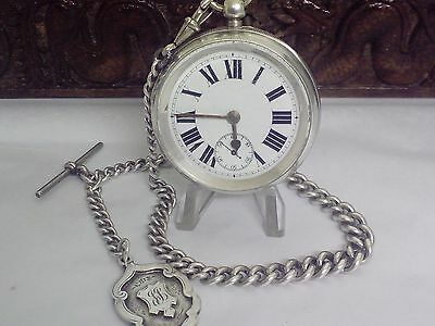 Antique Solid Silver Pocket Watch   Lever   Graduated Albert Chain & Fob C 1890
