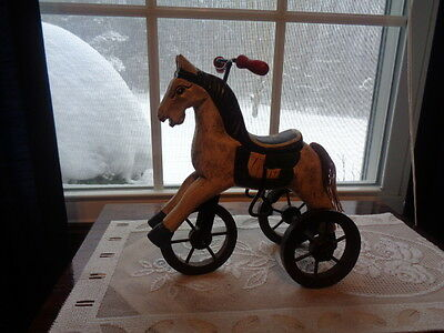 Vintage Woodebn Horse On 3 Wheels Tricycle Hand Carved & Painted