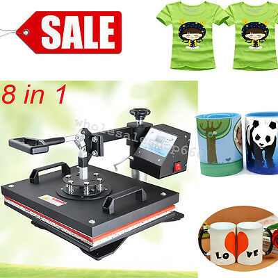 【SALE】8in1 Transfer Sublimation T-Shirt Mug Hat Cap Heat Press Printing Machine