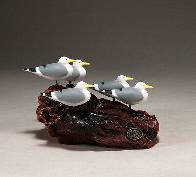 Flock of Seagulls Sculpture New direct by JOHN PERRY 8in long Hand painted