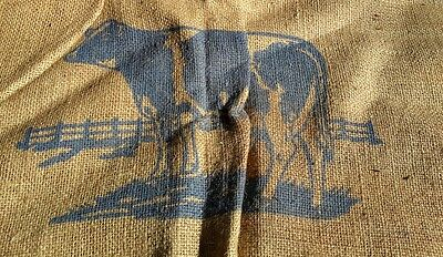 Antique Feed Bag With Big Blue Cow, Red Rose Feeds AAFA