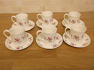 6 Crown Staffordshire China Coffee Cans & Saucers   Rose Mist