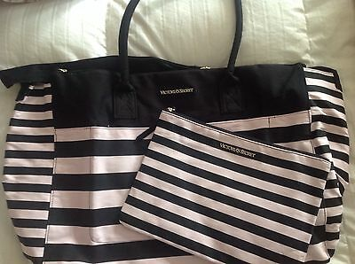 Victoria's Secret pink striped limited Large weekender tote NWT