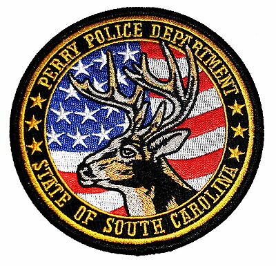 PERRY SOUTH CAROLINA SC Police Sheriff Patch STAG DEER HORNS FLAG ~