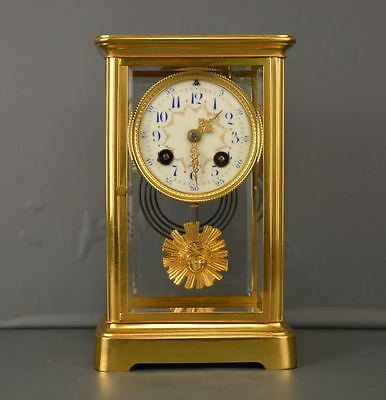 Antique Gilt Bronze French Mantel Clock In Beautiful Glass Case