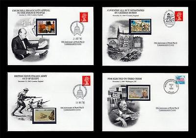 WWII 1940 Danbury 1990 CTO 4x Covers Churchill Roosevelt Coventry Egypt #W28