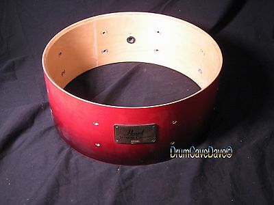 """PEARL 5x14"""" SESSION CUSTOM ALL MAPLE SNARE DRUM SHELL, RED TO BLACK FADE!"""