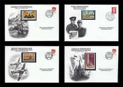 WWII 1941 Danbury 1991 CTO 4 Covers Germany Russia Pact France Vichy #W35