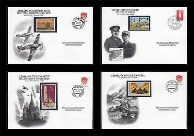 WWII 1941 Danbury 1991 CTO 4 Covers Germany Russia Pact France Vichy #W36