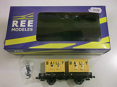 "REE - SNCF - WAGON PORTE CONTAINERS  "" BAILLY ""  - Ech HO -Ref:WB 126 - NEUF -"