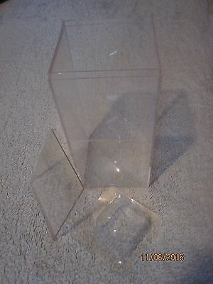"""One 4"""" x 4"""" x 8"""" Clear Acrylic Lucite Display Box"""