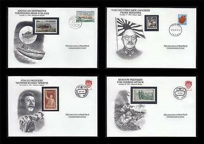 WWII 1941 Danbury 1991 CTO 4 Covers Japan Moscow Destroyer Stalin Russia #W39