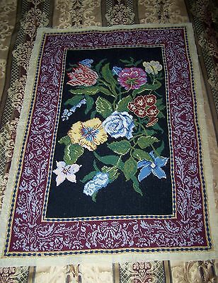 Gorgeous Large Panel Antique/Vintage Needlepoint Embroidery Tapestry