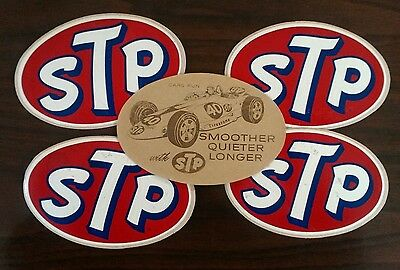 """LOT Of 5 Vintage 60's STP Stickers 4 5/8"""" X 3"""""""