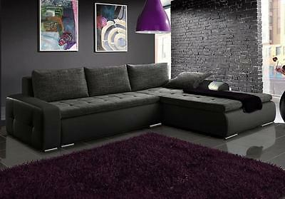 Corner sofa bed grey fabric black faux leather storage left right