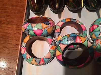 Set of (7) COLORFUL) Hand-Painted Wood Napkin Rings /INDIA