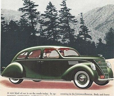 1936 Lincoln Zephyr V-12 Vintage Auto Print Ad Appearance, Construction, Value