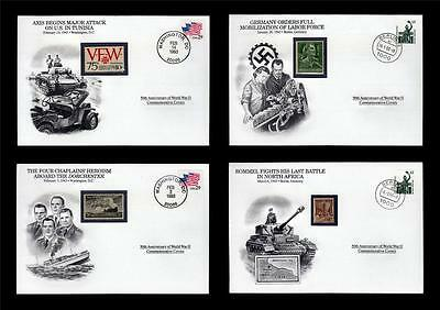 WWII 1943 Danbury 1993 CTO 4 Covers Germany Dorchester Tunisia Axis Rommel #W71