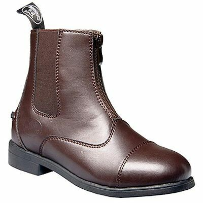 3.0 Size Brown Devonaire Kids Child North Park Zip Leather Paddock Shoes Boot