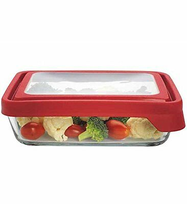 Anchor Hocking Glass Storage Container - Rect. -  6 cups - Red