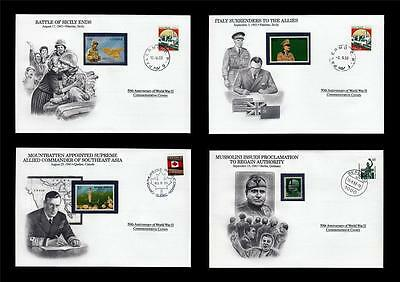 WWII 1943 Danbury 1993 CTO 4 Covers Sicily Canada Italy Mussolini Grmany #W82