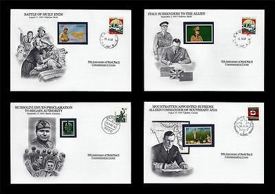 WWII 1943 Danbury 1993 CTO 4 Covers Sicily Canada Italy Mussolini Grmany #W83