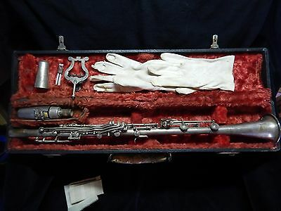 Vintage silver plate all metal clarinet with original case 1930s Legionnaire USA