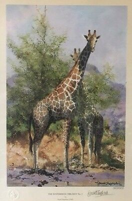 David Shepherd 'AFRICAN WATERHOLE'  Trilogy Limited Edition Signed And Framed
