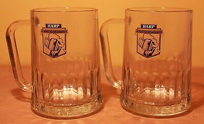 Pair of 2 Harp Steins Irish Ale A Pint To Remember Glass Jug Ireland Advertising