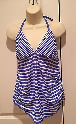 LIZ LANGE MATERNITY NWOT Women's Blue & White Tankini Bathing Suit - Size Small