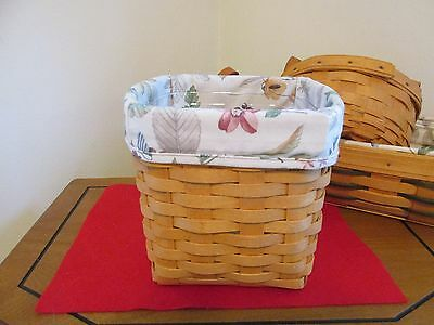 longaberger basket unknown name  cloth liner & plastic liner 6.50 inches Tall
