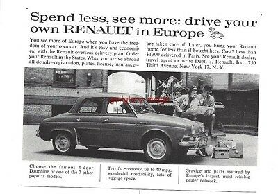 1959 Renault Dauphine Vintage Auto Print Ad Less Than $1300 Delivered In Paris