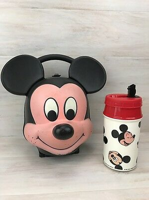 Vintage Mickey Mouse Head Lunch Box Pale Kit Aladdin Disney Complete