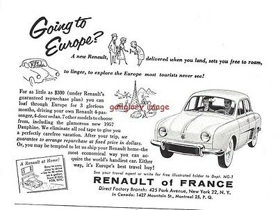 1957 Renault Of France Vintage Auto Print Ad Loaf Through Europe For 3 Months