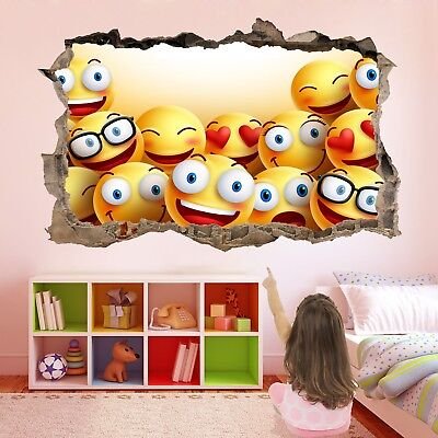 Emoji Smiley Faces 3D Wall Sticker Mural Decal Poster Kids Girls Room Decor BH20