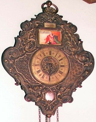 Antique Ornate Brass French 2 Wgt Wall Chain Clock Yr Mo Day Hr Min Linger Paris