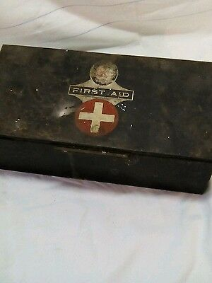Vintage First Aid Kit Box tin with contents - fassett and Johnson