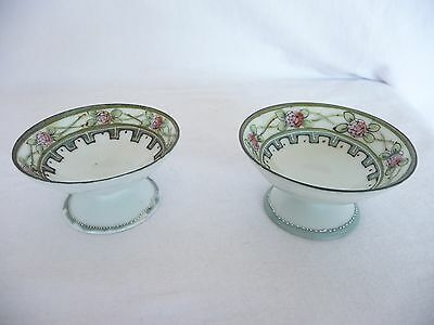Nippon Vintage Pair Handpainted Porcelain Pedestal Salt Cellars