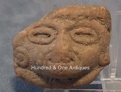 Antique Terracotta Head fragment Pre-Columbian Mayan 500-900 AD